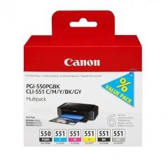Blekkpatroner CANON PGI-550/CLI-551 ValuePack 6stk